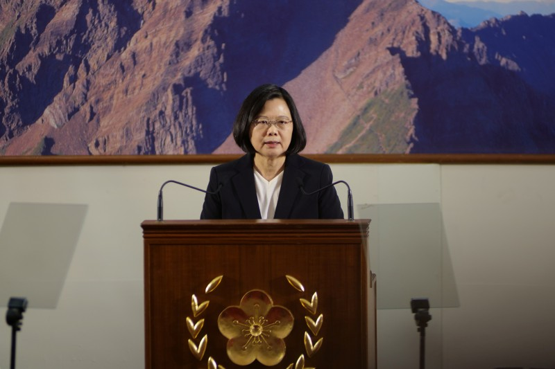 FILE PHOTO: Taiwan's President Tsai Ing-wen speaks during the end-of-year news conference in Taipei REUTERS/Fabian Hamacher