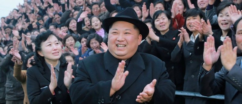 North Korean leader Kim Jong Un reacts as people applaud during his visit to the newly-remodeled Pyongyang Teacher Training College, in this photo released by North Korea's Korean Central News Agency (KCNA) in Pyongyang on January 17, 2018.   KCNA/via REUTERS