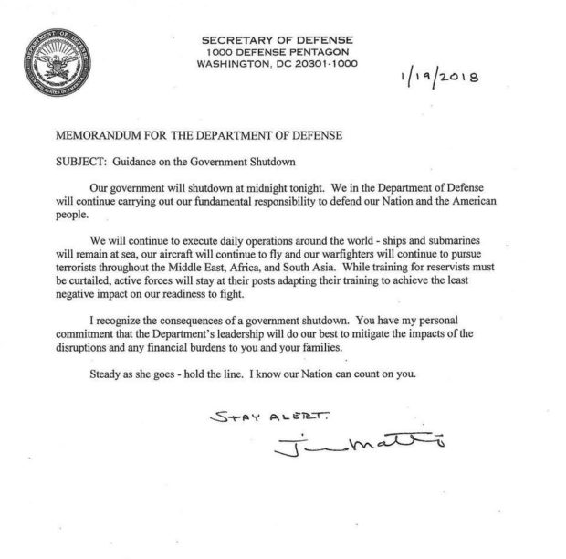 Government Shutdown S Saddest Photo Goes Viral: Stop What You're Doing And Read Mattis' Letter To The