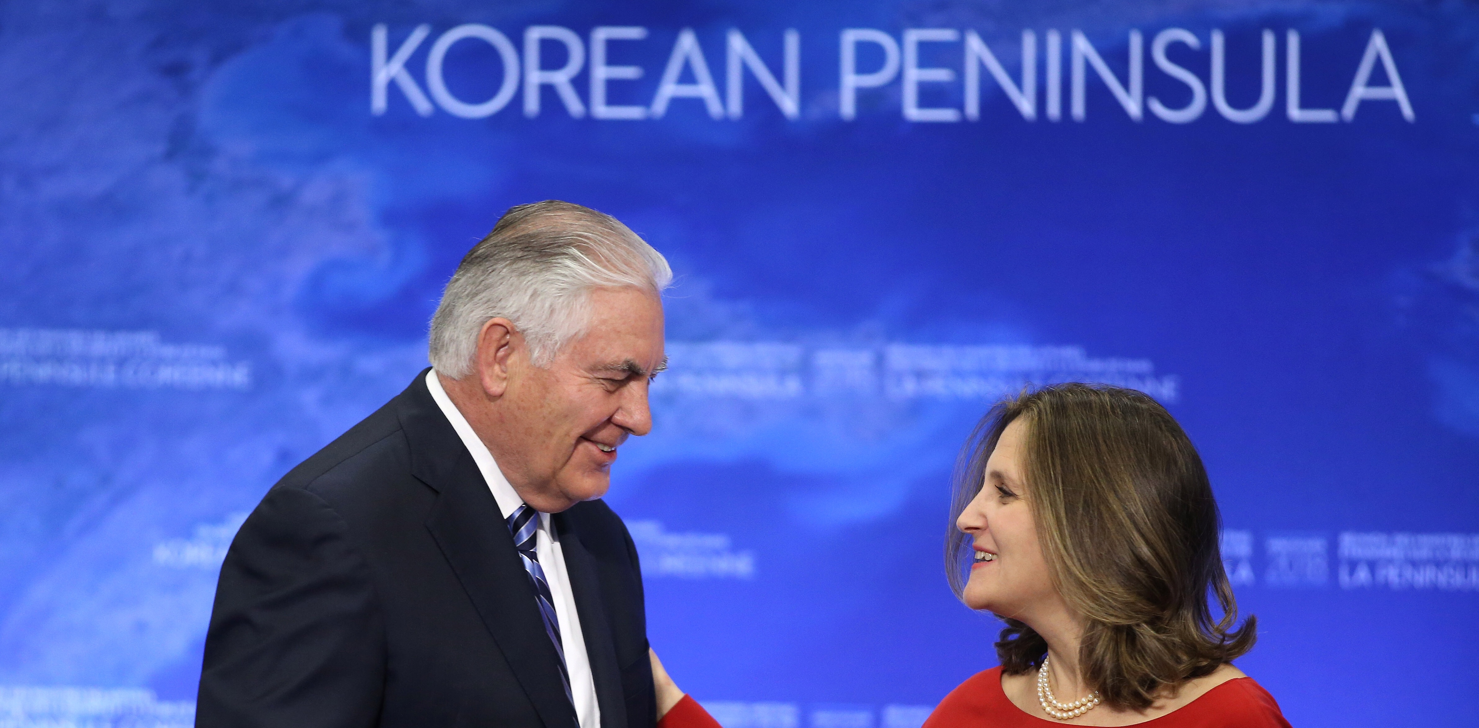 U.S. Secretary of State Rex Tillerson speaks with Canadaís Minister of Foreign Affairs Chrystia Freeland during the Foreign Ministersí Meeting on Security and Stability on the Korean Peninsula in Vancouver, British Columbia, Canada, January 16, 2018. REUTERS/Ben Nelms - RC162D92FA70