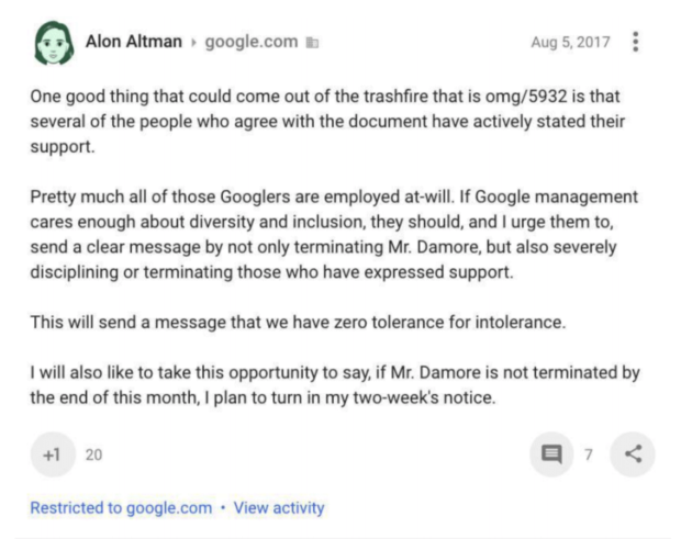 A Google employee threatens to quit if conservative personnel are not fired.