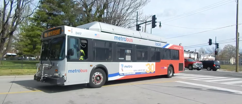 A WMATA bus near Catholic University in NE Washington D.C. (Screenshot)