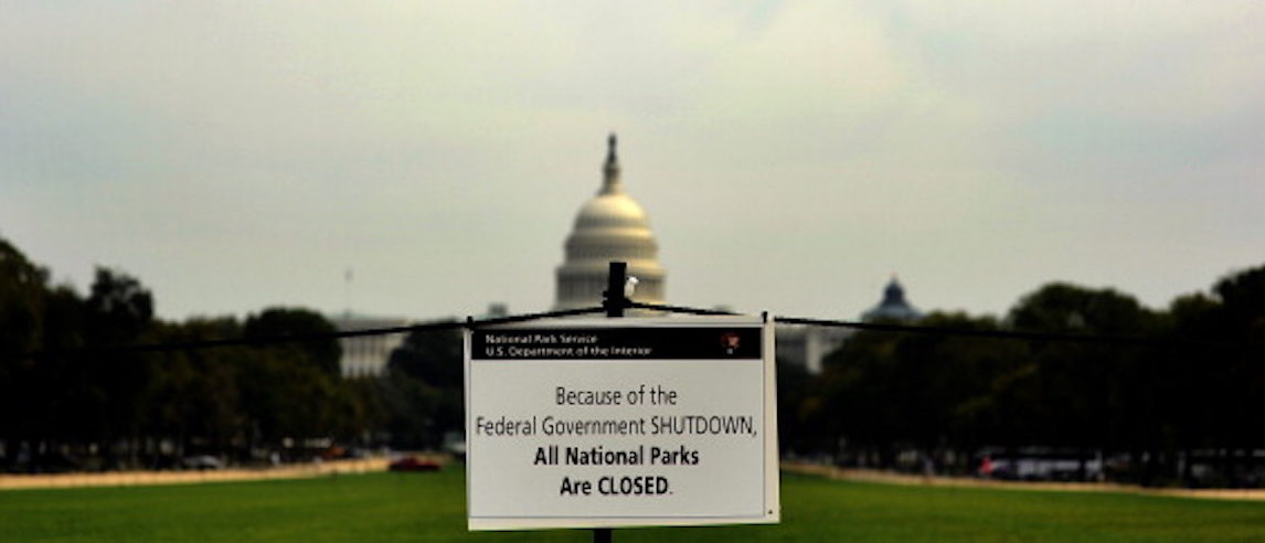 "A closure sign is posted on the national mall near the US Capitol in Washington, DC, October 3, 2013, as seen during the third day of the federal government shutdown. US President Barack Obama on October 3, directly attacked Republican Speaker John Boehner, saying he could end a ""reckless"" US government shutdown in just five minutes. AFP Photo/Jewel Samad        (Photo credit should read JEWEL SAMAD/AFP/Getty Images)"