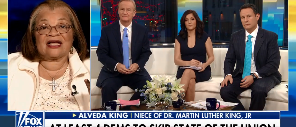 "Alveda King said President Donald Trump is not racist on ""Fox And Friends"" 1-15-18. (Photo: Screenshot/Fox News)"