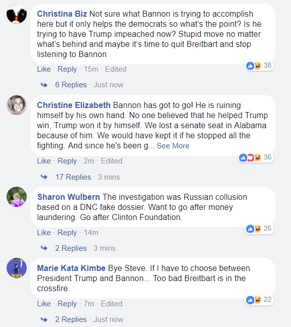 Breitbart commenters on Facebook (Facebook / Screenshot)