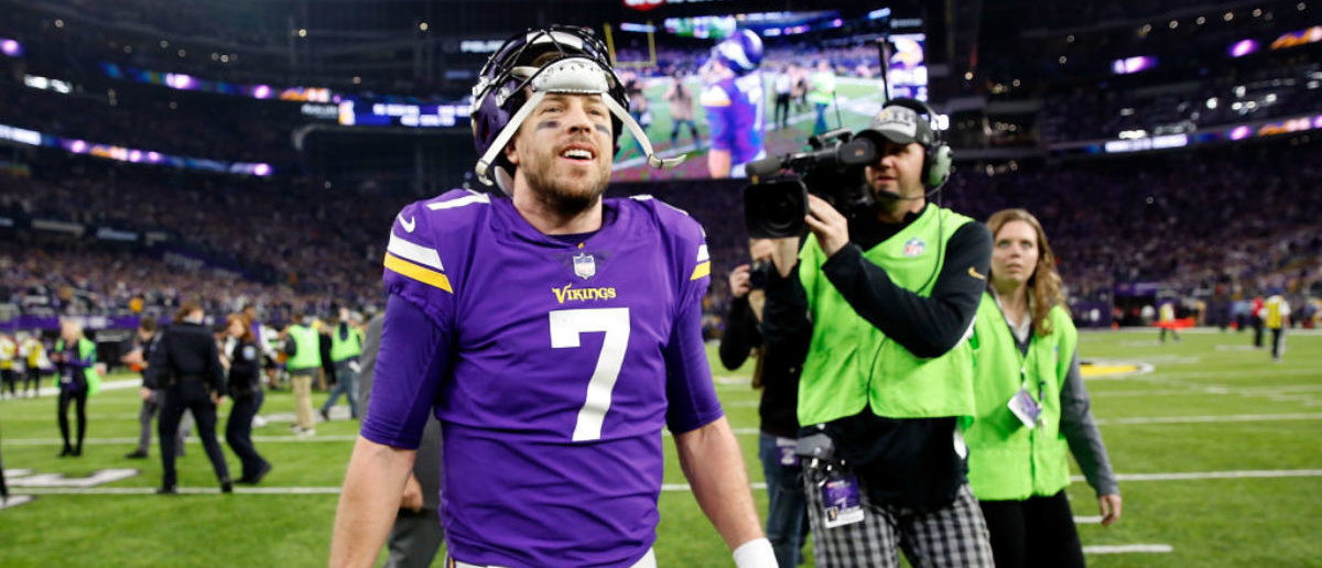 MINNEAPOLIS, MN - JANUARY 14: Quarterback Case Keenum #7 of the Minnesota Vikings walks off the field after the Vikings defeated the New Orleans Saints 29-24 to win the NFC divisional round playoff game at U.S. Bank Stadium on January 14, 2018 in Minneapolis, Minnesota. (Photo by Jamie Squire/Getty Images)