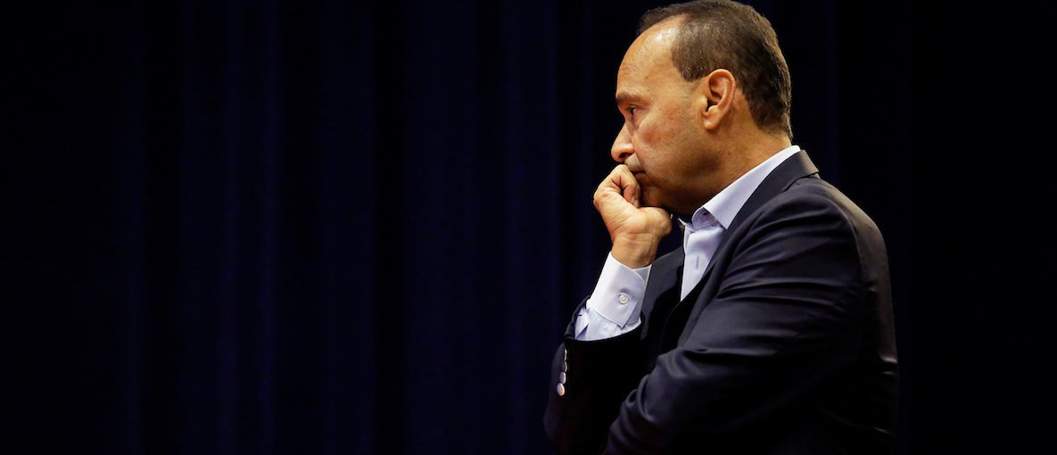 Congressman Luis Gutierrez (D-IL 4th Dist) listens to A Deferred Action for Childhood Arrivals (DACA) recipient speak during a town hall style meeting about protecting DACA recipients in Chicago, Illinois, U.S. September 14, 2017. Picture taken September 14, 2017. REUTERS/Joshua Lott - RC13A74D9610