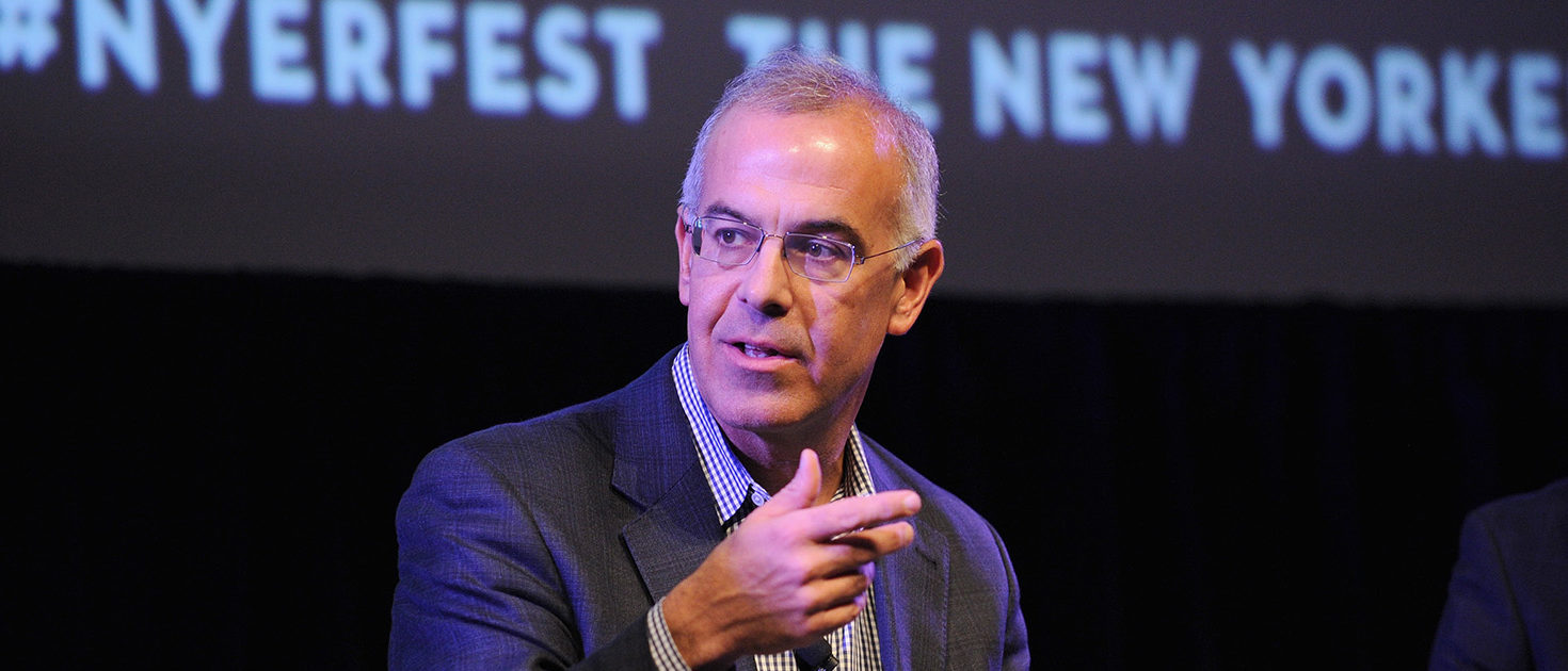 Policital commentator David Brooks speaks on stage at Income Inequality with David Brooks, Jacob Hacker, and Nelini Stamp Moderated by George Packer at the MasterCard stage at SVA Theatre during The New Yorker Festival 2014 on October 19, 2014 in New York City. (Photo by Bryan Bedder/Getty Images for The New Yorker)