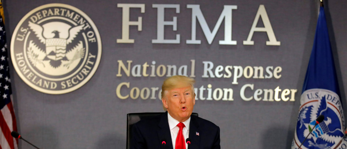 U.S. President Donald Trump attends a Federal Emergency Management Agency (FEMA) briefing on hurricane season at FEMA Headquarters in Washington, U.S., August 4, 2017. REUTERS/Carlos Barria