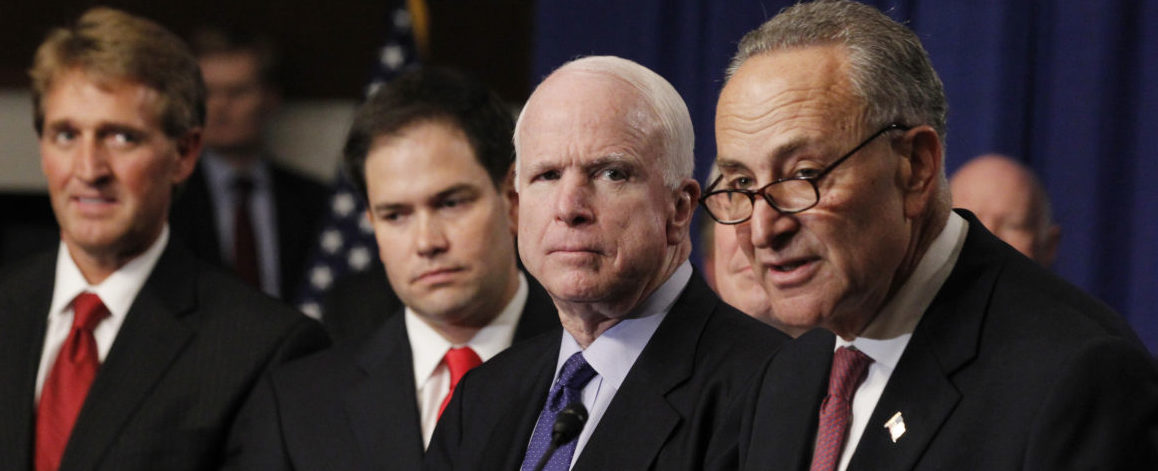 U.S. Senator Chuck Schumer (R), part of the U.S. Senate's Gang of Eight, speaks during a news briefing on Capitol Hill in Washington, April 18, 2013. The other senators pictured are (L-R) Jeff Flake (R-AZ), Marco Rubio (R-FL) and John McCain (R-AZ) who crafted comprehensive legislation to overhaul the immigration system went to great lengths to balance the competing priorities of dozens of interest groups in an 844-page bill introduced on Wednesday in hopes it would improve the chances for passage of the bill. REUTERS/Jason Reed