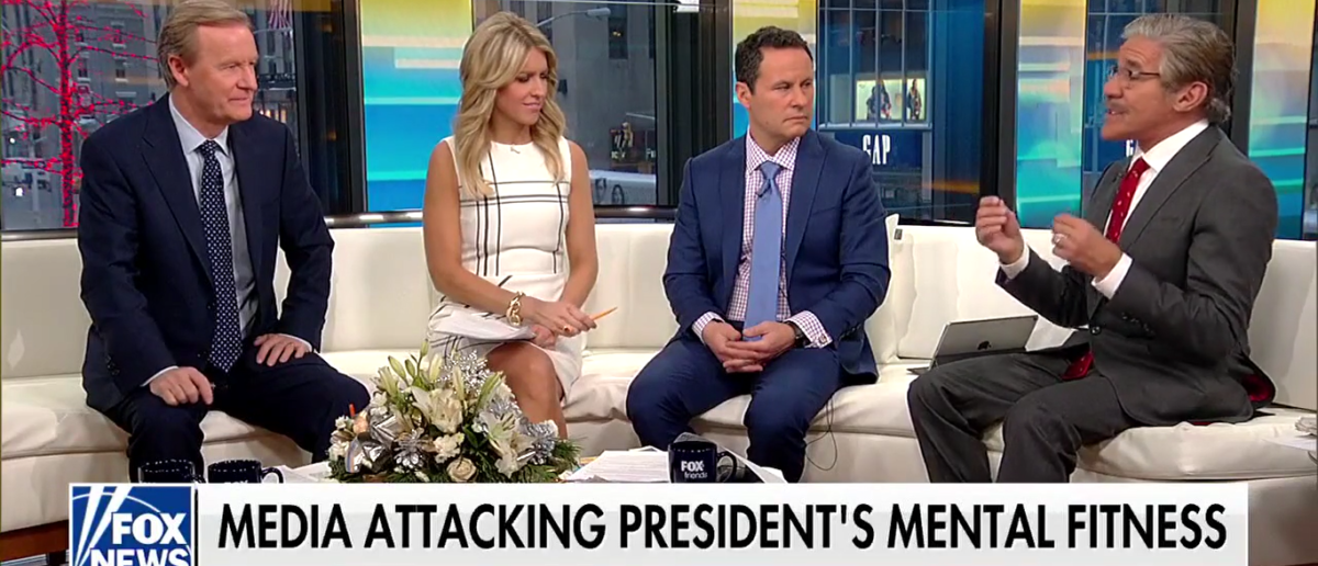 "Geraldo Rivera defends President Donald Trump on ""Fox and Friends"" 1-5-18. (Photo: Screenshot/Fox News)"