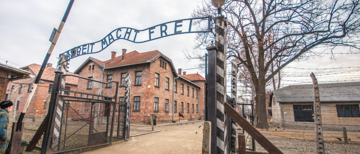 Entrance gate to Auschwitz concentration camp, Poland Shutterstock/ caminoel