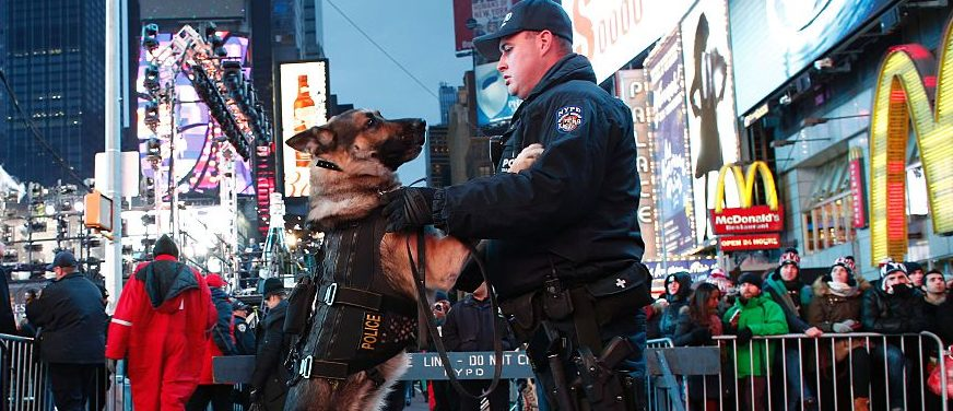 A New York City police officer holds his dog as they patrol in Times Square ahead of New Years events in New York on December 31, 2015. (Photo credit/KENA BETANCUR/AFP/Getty Images)