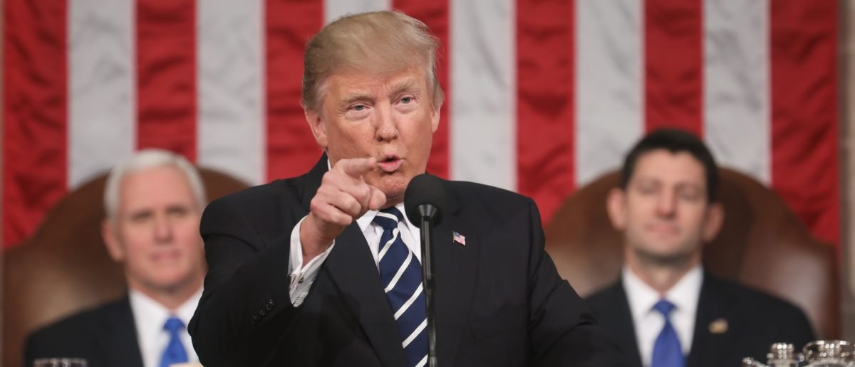 US President Donald J. Trump delivers his first address to a joint session of Congress from the floor of the House of Representatives in Washington, DC, USA, 28 February 2017. / AFP PHOTO / POOL / JIM LO SCALZO (Photo credit should read JIM LO SCALZO/AFP/Getty Images)