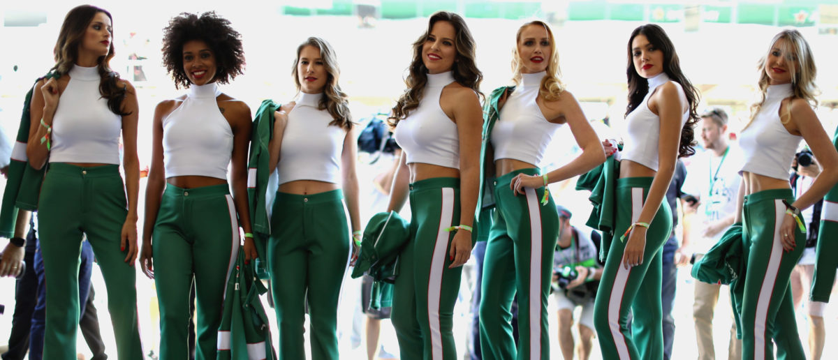 Grid girls pose for a photo before the Formula One Grand Prix of Brazil at Autodromo Jose Carlos Pace on November 12, 2017 in Sao Paulo, Brazil. (Photo by Mark Thompson/Getty Images)