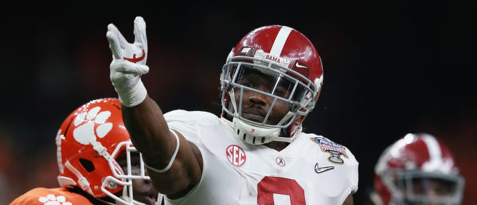 NEW ORLEANS, LA - JANUARY 01:  Bo Scarbrough #9 of the Alabama Crimson Tide reacts in the first half of the AllState Sugar Bowl against the Clemson Tigers at the Mercedes-Benz Superdome on January 1, 2018 in New Orleans, Louisiana.  (Photo by Sean Gardner/Getty Images)