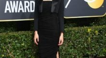 Gal Gadot arrives for the 75th Golden Globe Awards on January 7, 2018, in Beverly Hills, California. / AFP PHOTO / VALERIE MACON        (Photo credit should read VALERIE MACON/AFP/Getty Images)