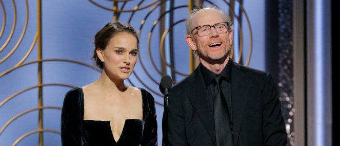 BEVERLY HILLS, CA - JANUARY 07: In this handout photo provided by NBCUniversal, Presenters Natalie Portman and Ron Howard speak onstage during the 75th Annual Golden Globe Awards at The Beverly Hilton Hotel on January 7, 2018 in Beverly Hills, California. (Photo by Paul Drinkwater/NBCUniversal via Getty Images)