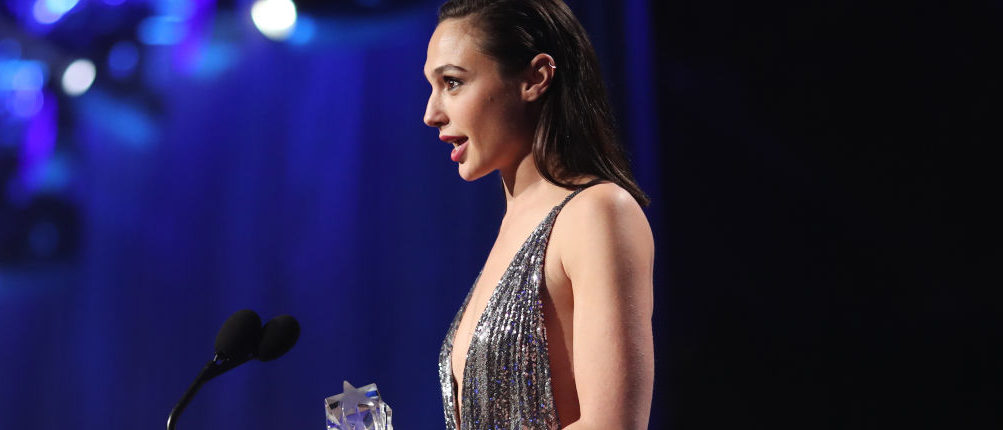 Gal Gadot accepting the SeeHer Award onstage during The Critics' Choice Awards last night in Santa Monica, California. (Photo by Christopher Polk/Getty Images for The Critics' Choice Awards)