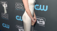 Emma Roberts striking a pose as she arrives at The 23rd Annual Critics' Choice Awards last night in Santa Monica (Photo by Christopher Polk/Getty Images for The Critics' Choice Awards)
