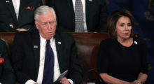 Rep. Hoyer and Nancy Pelosi showed only one emotion throughout the night:  dissatisfaction. (Photo by Alex Wong/Getty Images)