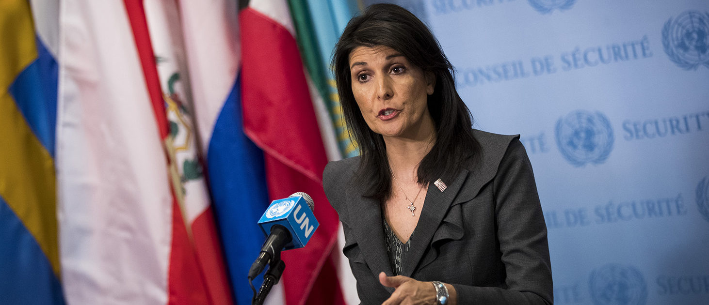 U.S. ambassador to the United Nations Nikki Haley speaks during a brief press availability at United Nations headquarters, January 2, 2018 in New York City. She discussed protests in Iran and the North Korea nuclear threat. (Photo by Drew Angerer/Getty Images)