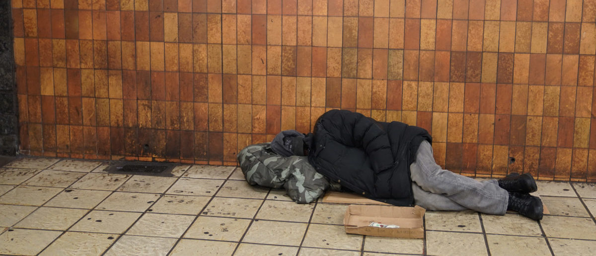 Homeless Man sleeping in NYC Subway (ShutterStock/Leonard Zhukovsky)
