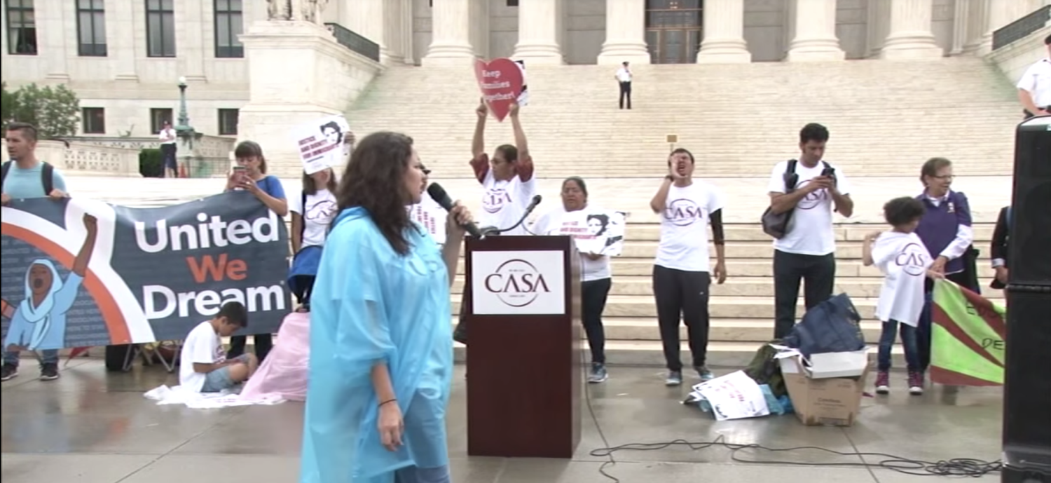 Immigration activists rally at the Supreme Court in 2016. (Screenshot)