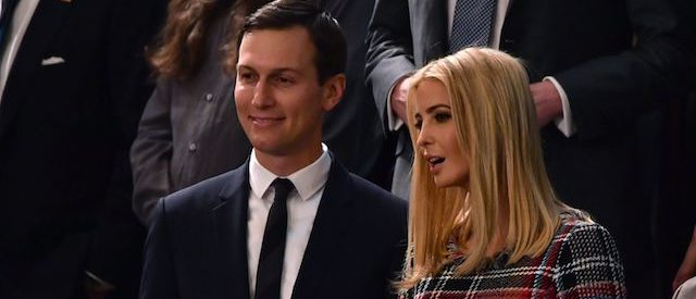 Senior Advisor to the President Jared Kushner (L) and Ivanka Trump arrive for the State of the Union address at the US Capitol in Washington, DC, on January 30, 2018. / AFP PHOTO / Nicholas Kamm (Photo credit should read NICHOLAS KAMM/AFP/Getty Images)