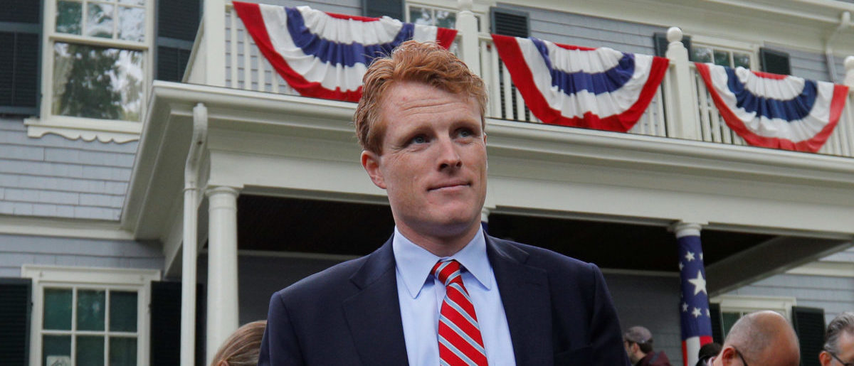 U.S. Congressman Joe Kennedy III waits to speak at ceremonies on the 100th anniversary of the birth of Congressman Kennedy's great-uncle, U.S. President John F. Kennedy, outside the home where President Kennedy was born, in Brookline, Massachusetts, May 29, 2017. REUTERS/Brian Snyder
