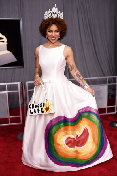 Singer Joy Villa Sported Anti-Abortion Dress to 60th annual Grammy Awards