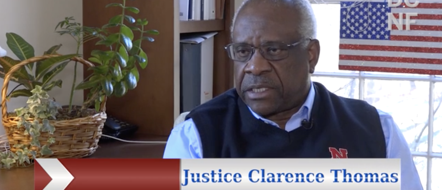 Justice Clarence Thomas speaks to TheDCNF in Jan. 2018. (Screenshot)