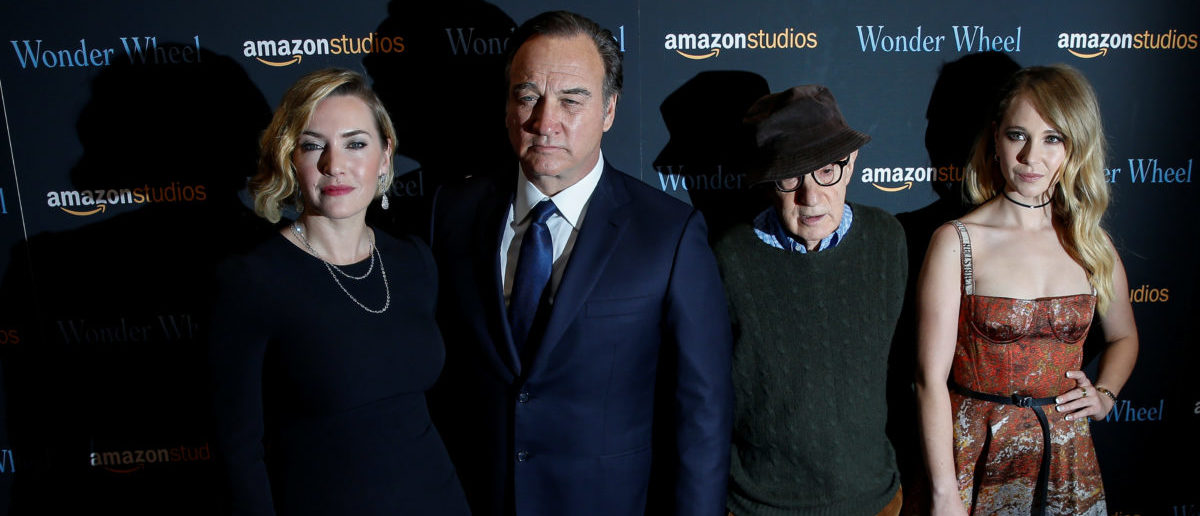 """Actors Kate Winslet, Jim Belushi and Juno Temple and director Woody Allen pose together during arrivals for a screening of their film """"Wonder Wheel"""" in New York, U.S., November 14, 2017. REUTERS/Brendan McDermid"""