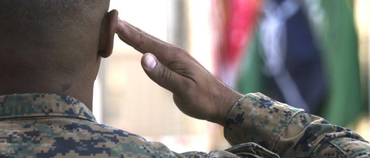 Marine Saluting Flag In Afghanistan (Hailey Sadler)