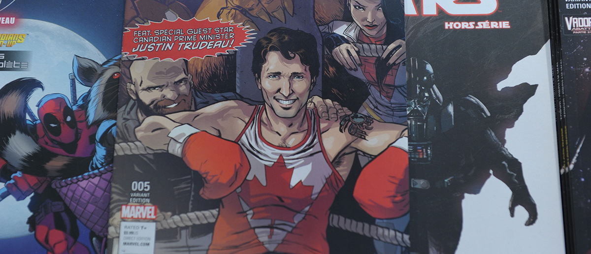 The cover of US publisher Marvel's comic book, featuring Canadian Prime Minister Justin Trudeau as a super hero in front of a newstand in Montreal, Canada on Aug. 31, 2016. Canadian Prime Minister Justin Trudeau takes the role of a superhero in a comic book by US publisher Marvel released on newsstands August 31 in Canada. - MARC BRAIBANT—AFP/Getty Images