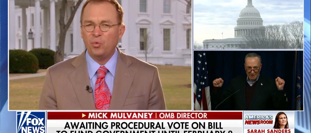 "Mick Mulvaney talked about the Schumer shutdown 1-22-18 on ""America's Newsroom."" (Photo: Screenshot/Fox News)"