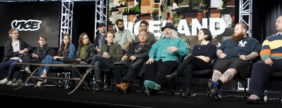 Cast members, hosts and executive producers take part in a panel discussion of A&E's Viceland during the Television Critics Association (TCA) Winter press tour in Pasadena, California January 6, 2016. REUTERS/Alex Gallardo - GF20000086199