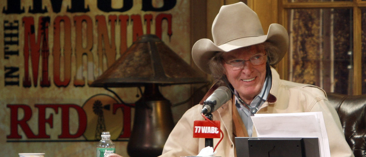 Radio personality Don Imus talks on air during his return to radio in New York, December 3, 2007. Imus returned to the airwaves, after nearly an eight month absence, promising to keep his edgy tone but refrain from the kind of racist and sexist comments that got him fired earlier this year. REUTERS/Brendan McDermid