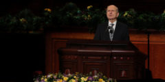 Russell M. Nelson speaks during the funeral for Thomas S. Monson, President of the Mormon Church, in Salt Lake City, Utah, U.S., January 12, 2018. REUTERS/Mike Blake