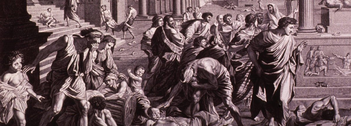 THE PLAGUE OF ASHDOD or EPIDEMIC AMONG THE PHILISTINES. The Old Testament scene shows God's destruction of the temple and idol of Dagon. Engraving by Picart after Poussin painting of 1660. Shutterstock/ Everett History
