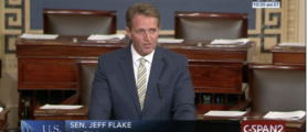 Dick Durbin Only Senator To Stay For Jeff Flake's Anti-Trump Floor Speech [VIDEO]