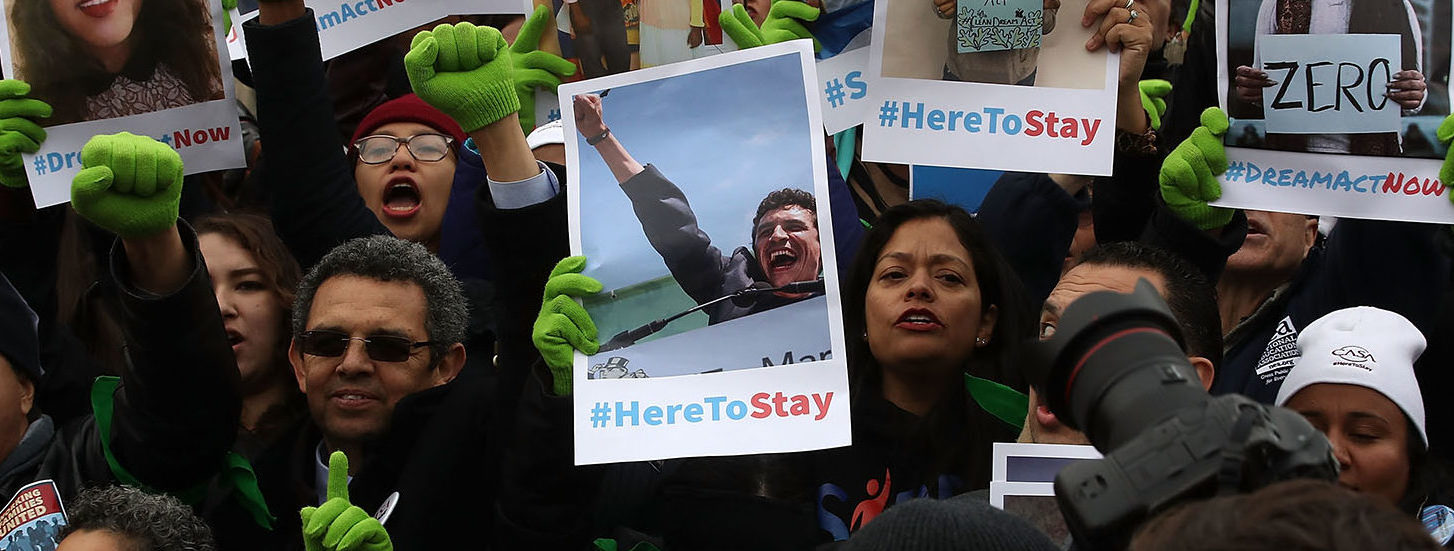 People who call themselves Dreamers, protest in front of the Senate side of the US Capitol to urge Congress in passing the Deferred Action for Childhood Arrivals (DACA) program, on December 6, 2017 in Washington, DC. (Photo by Mark Wilson/Getty Images)