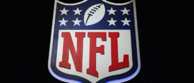 HOUSTON, TX - FEBRUARY 01: The NFL shield logo is seen following a press conference held by NFL Commissioner Roger Goodell (not pictured) at the George R. Brown Convention Center on February 1, 2017 in Houston, Texas. (Photo by Tim Bradbury/Getty Images)