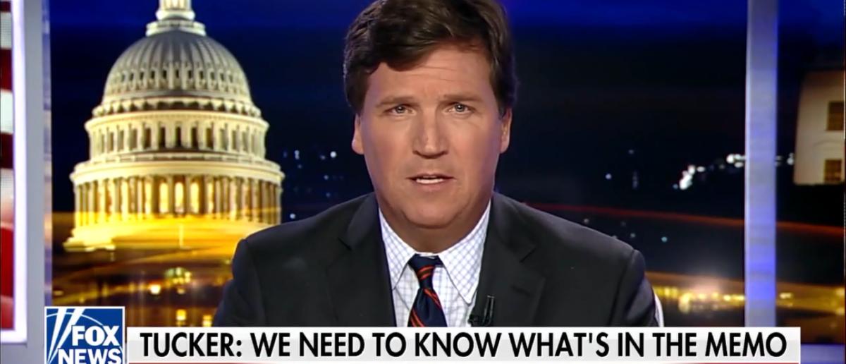 Tucker Carlson Zings Mainstream Media On Tucker Carlson Tonight 1-24-18 (Screenshot/Fox News)