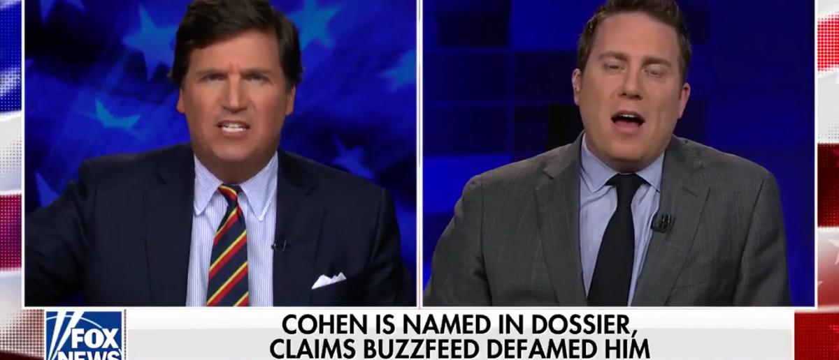 Tucker took on BuzzFeed's Ben Smith 1-10-18. (Photo: Screenshot/Fox News)