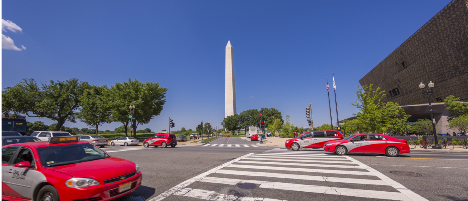 Taxi cabs in Washington, DC (Shutterstock/ Rob Crandall)