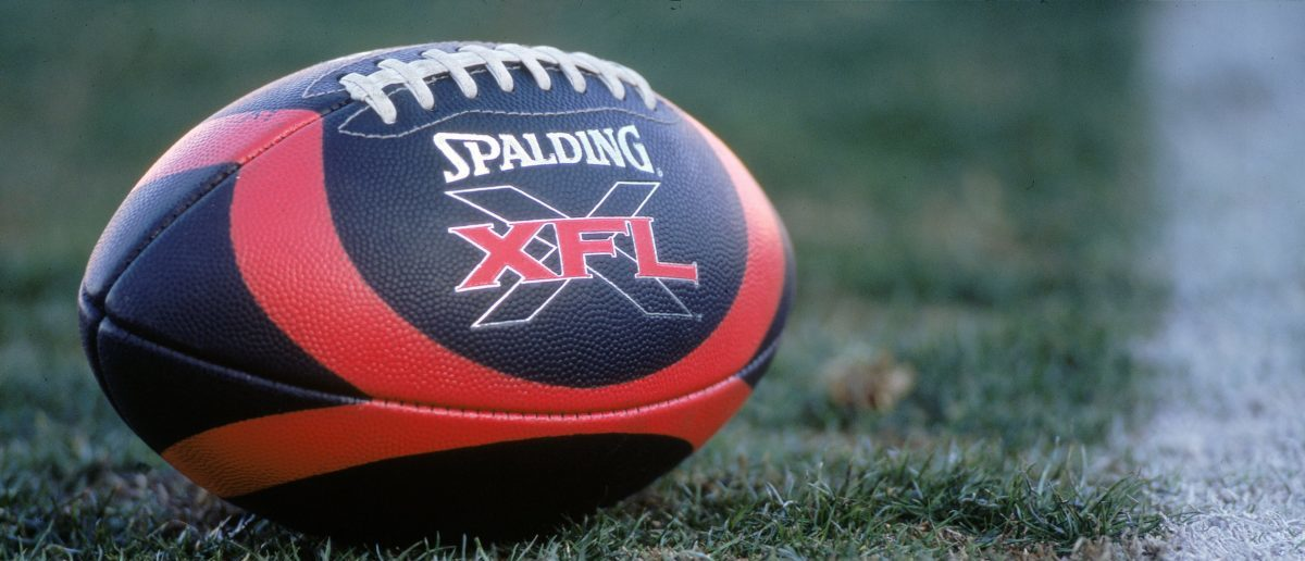 3 Feb 2001: A view of the XFL football taken on the field before the game between the Las Vegas Outlaws and the New York/New Jersey Hitmen at the Sam Boyd Stadium in Las Vegas, Nevada. The Outlaws defeated the Hitmen 19-0.Mandatory (Credit: Todd Warshaw /Allsport/Getty Images)
