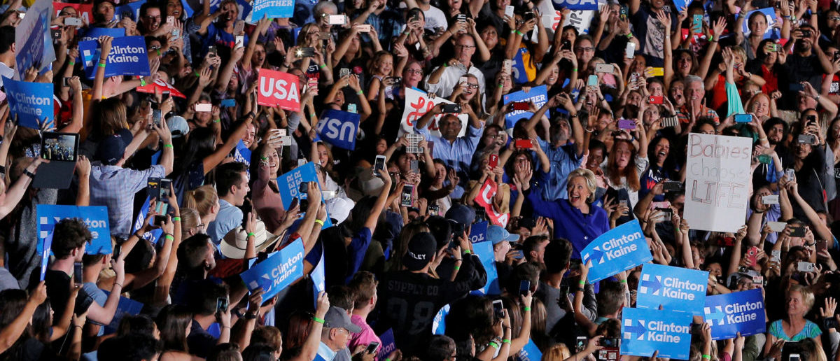 U.S. Democratic presidential nominee Hillary Clinton takes the stage at a campaign rally at Arizona State University in Tempe, Arizona, U.S. November 2, 2016. REUTERS/Brian Snyder