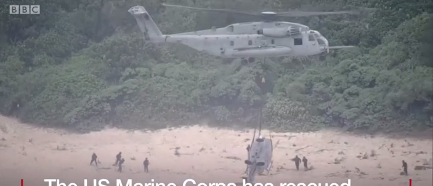 U.S. Marines on Okinawa salvage a crashed helicopter (Screenshot/BBC)