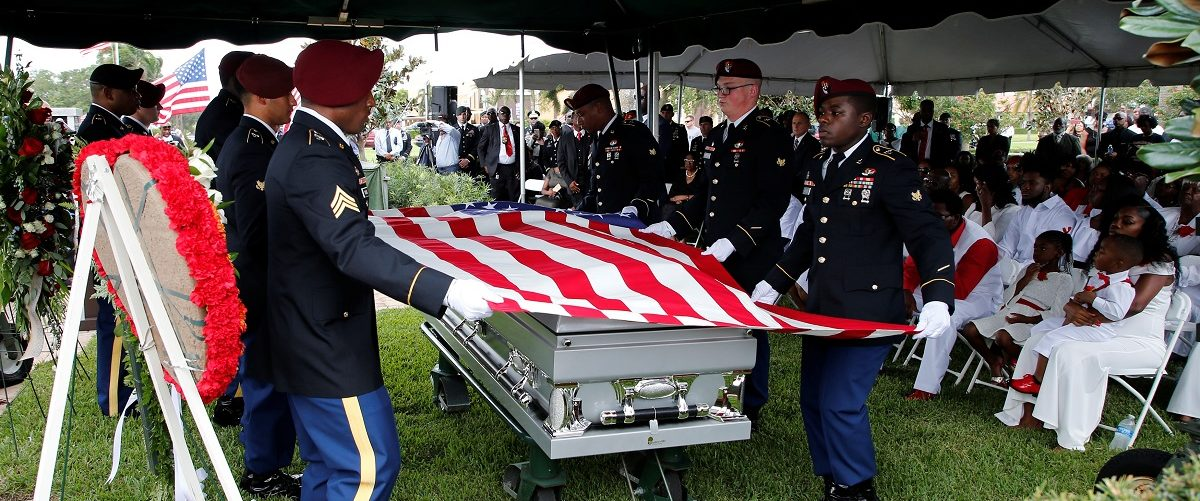 An honor guard folds and American flag which was draped on the coffin of U.S. Army Sergeant La David Johnson, who was among four special forces soldiers killed in Niger, at a graveside service in Hollywood,